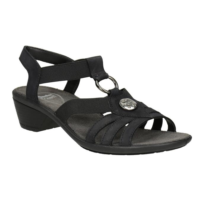 Čierne dámske kožené sandále comfit, čierna, 666-6619 - 13