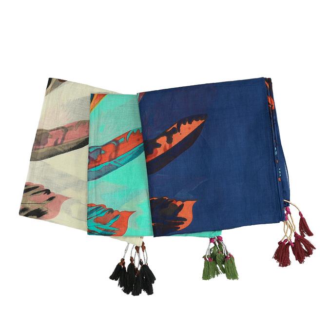 Dámske šatky s farebným perím bata, viacfarebné, 909-0244 - 13