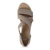 Kožené sandále na kline bata, hnedá, 563-4600 - 17