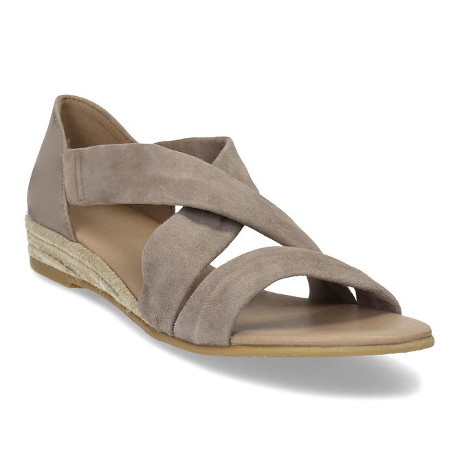 Kožené sandále na kline bata, hnedá, 563-4600 - 13