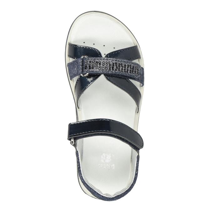 Modré dievčenské sandále s kamienkami mini-b, modrá, 361-9612 - 17