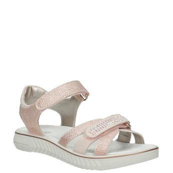 Dievčenské ružové sandále s kamienkami mini-b, ružová, 361-5612 - 13