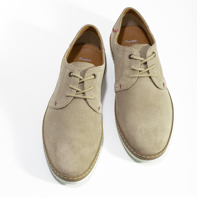 Pánske béžové kožené tenisky s perforáciou bata, béžová, 823-8617 - 16