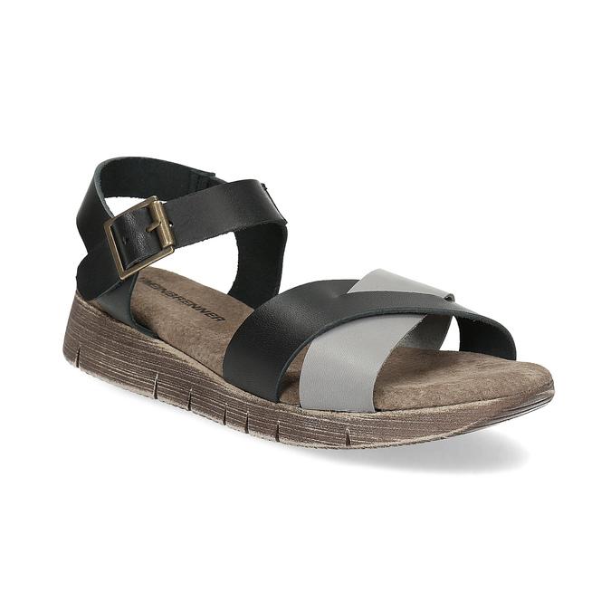 817ecc22e6 Weinbrenner Šedo-čierne kožené dámske sandále - Klinový podpätok ...