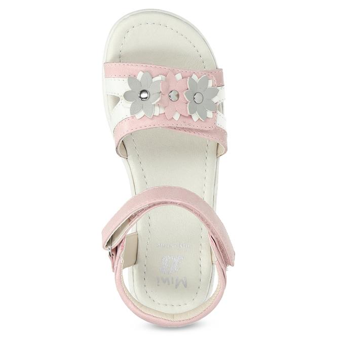 Ružovo-biele dievčenské sandále s kvetmi mini-b, ružová, 261-5615 - 17