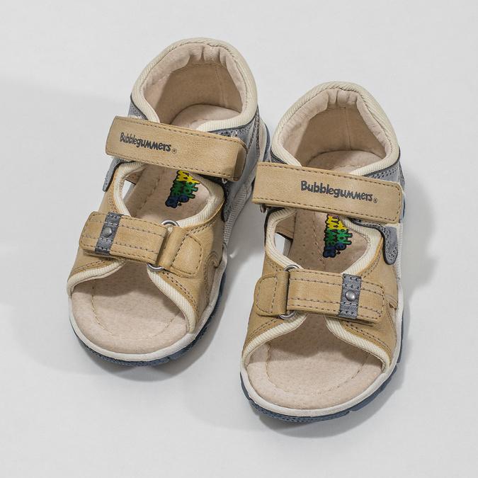 Detské sandále na suchý zips bubblegummers, hnedá, 161-3606 - 16