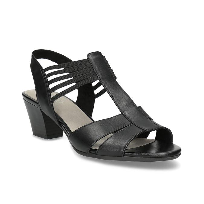Kožené sandále na podpätku šírky H bata, čierna, 664-6610 - 13