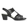 Kožené sandále na podpätku šírky H bata, čierna, 664-6610 - 19