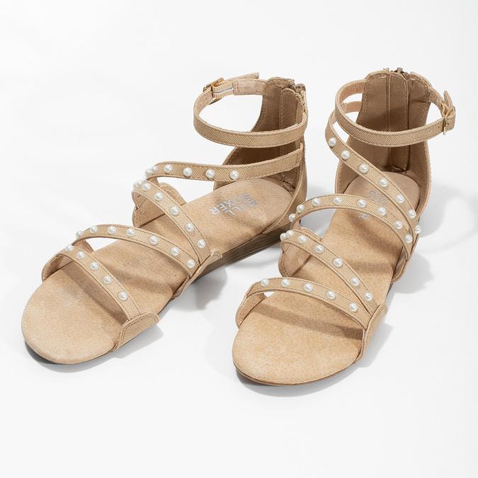 Dievčenské sandále s perličkami bullboxer, béžová, 361-8609 - 16