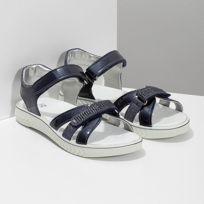Modré dievčenské sandále s kamienkami mini-b, modrá, 361-9612 - 26