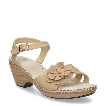 Béžové sandále s kvetom comfit, béžová, 661-8613 - 13