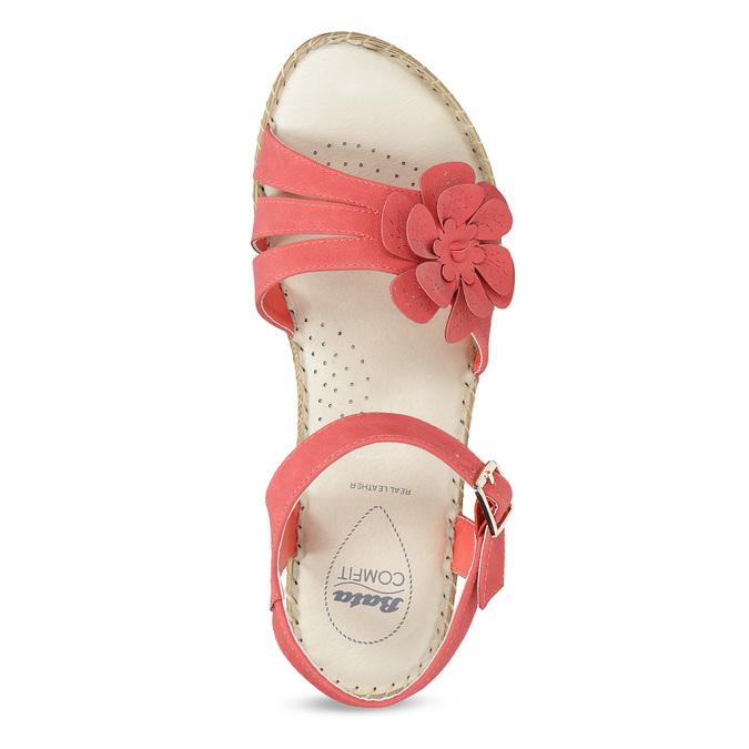 Sandále na stabilnom podpätku s kvetinami comfit, červená, 661-5613 - 17