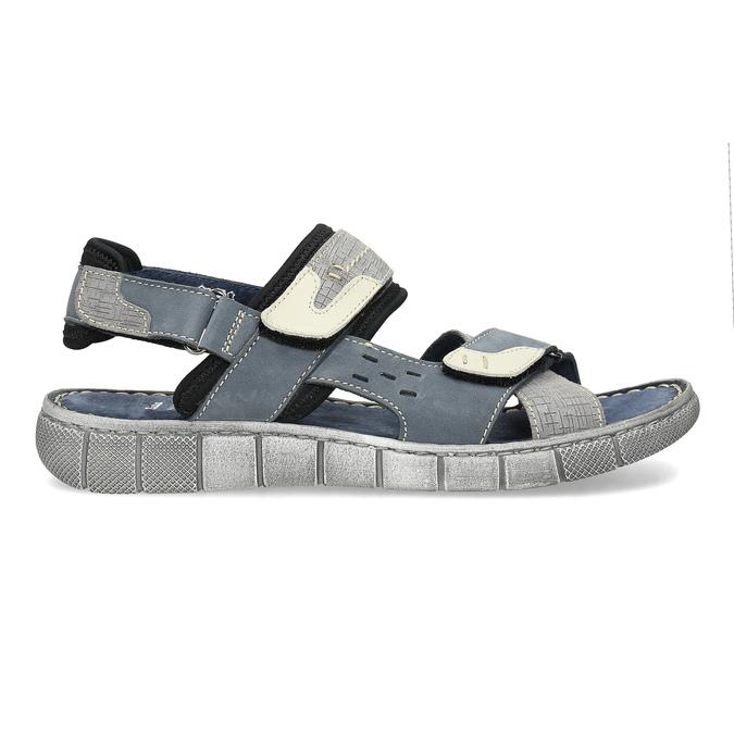 Modré kožené pánske sandále na suchý zips bata, šedá, 866-9640 - 19