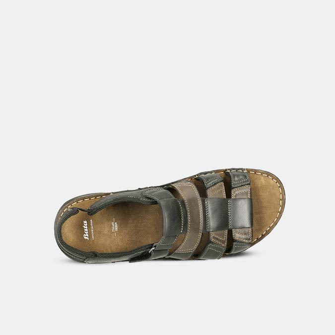 Pánske letné sandále z brúsenej kože bata, hnedá, 866-4610 - 16