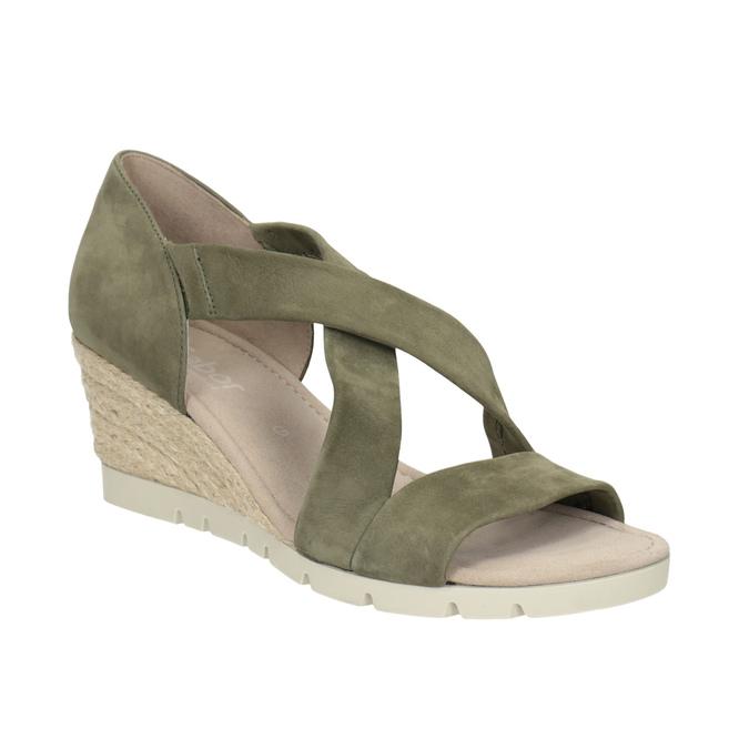 d739390631b5 Gabor Khaki kožené sandále na klinovom podpätku - Všetky topánky ...