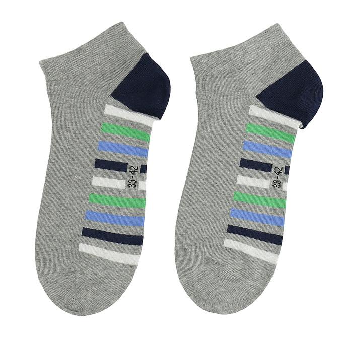 Členkové šedé ponožky s pruhmi bata, šedá, 919-2803 - 26