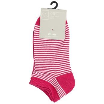Dámske pruhované červené členkové ponožky bata, červená, 919-5816 - 13