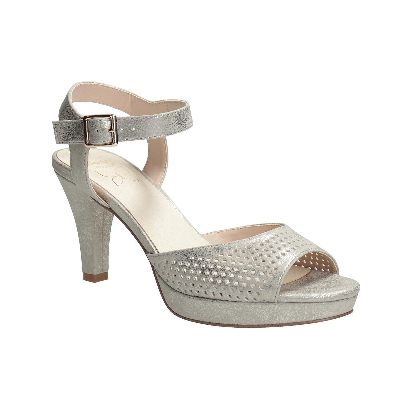 dac87cd226 Insolia Strieborné dámske sandále na podpätku s perforáciou - Všetky ...