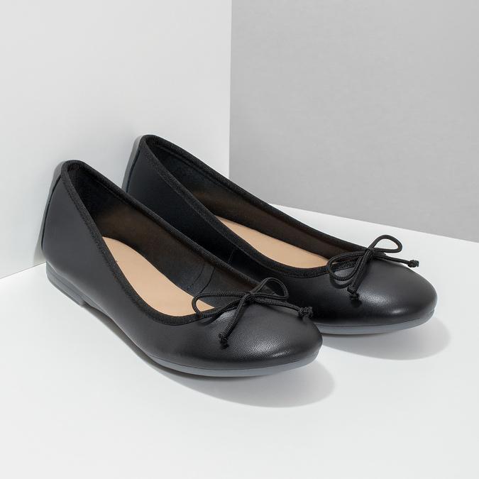 Kožené čierne baleríny s mašličkou bata, čierna, 524-6144 - 26