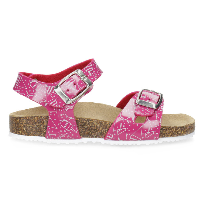 Dievčenské ružové korkové sandále mini-b, ružová, 261-5209 - 19