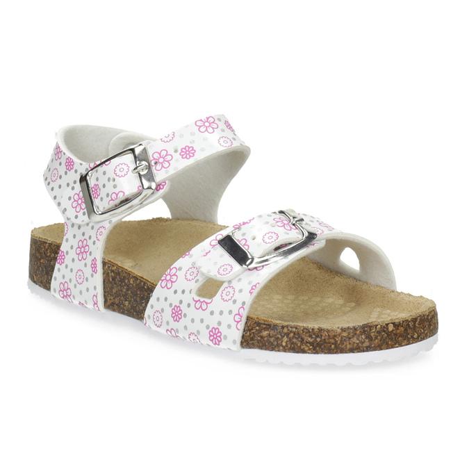 Dievčenské sandále s korkovou podrážkou mini-b, biela, 261-1212 - 13