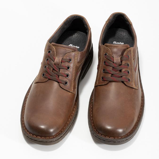 Hnedé kožené ležérne poltopánky bata, hnedá, 826-4918 - 16