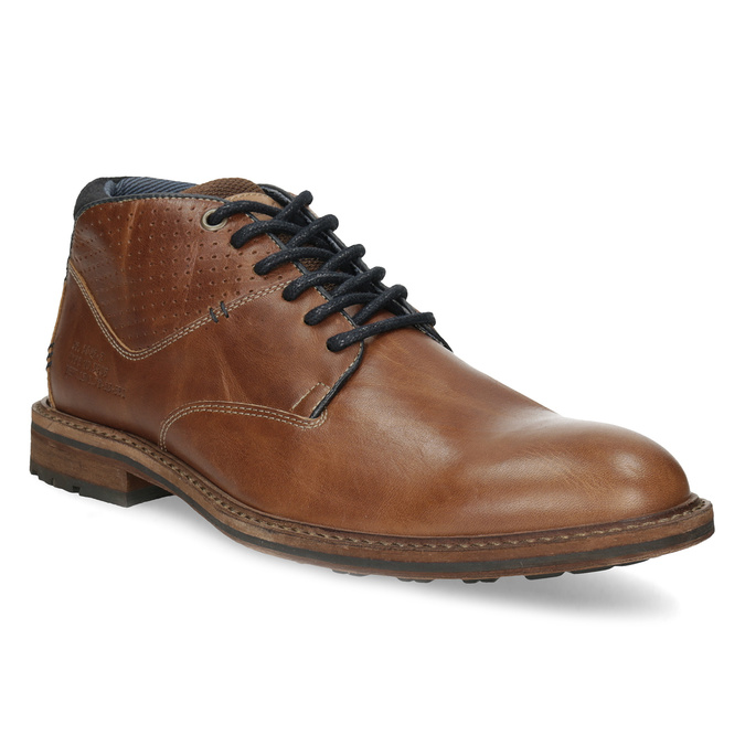 Hnedá členková kožená pánska obuv bata, hnedá, 826-3505 - 13