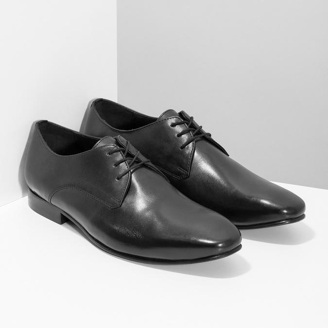 Čierne kožené poltopánky v Derby strihu bata, čierna, 824-6606 - 26