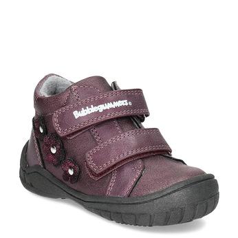 Fialové dievčenské topánky s kytičkami bubblegummers, fialová, 121-5622 - 13