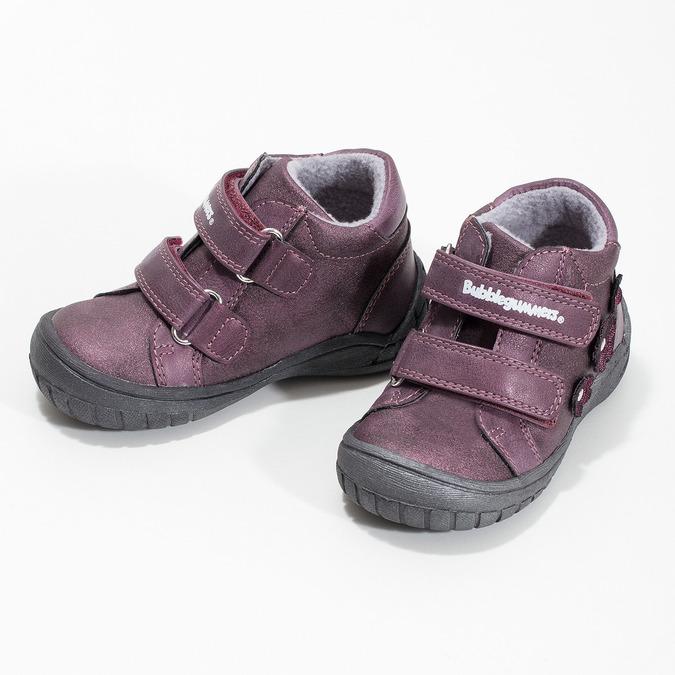 Fialové dievčenské topánky s kytičkami bubblegummers, fialová, 121-5622 - 16