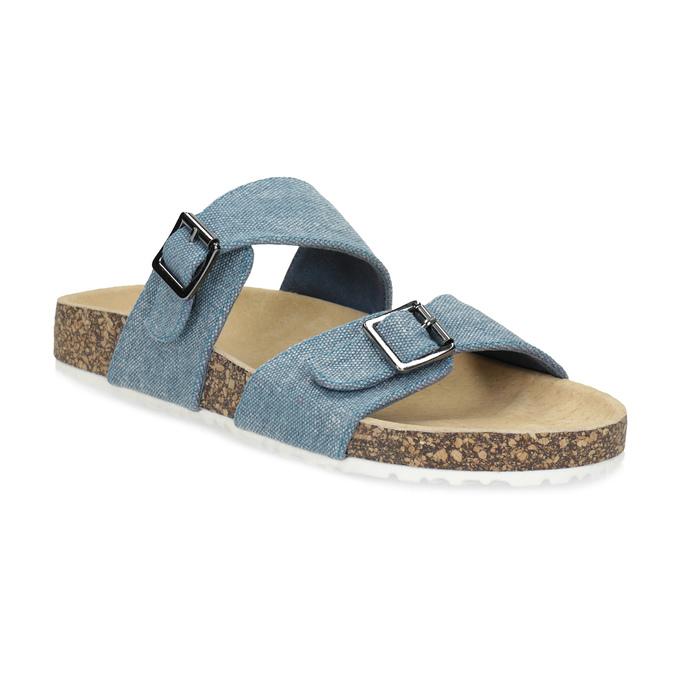 Dámske modré korkové papuče bata, modrá, 579-9625 - 13
