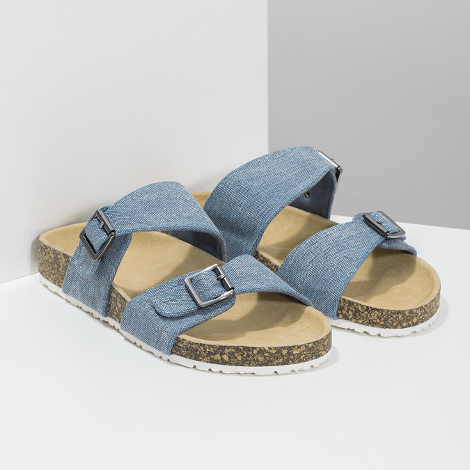Dámske modré korkové papuče bata, modrá, 579-9625 - 26
