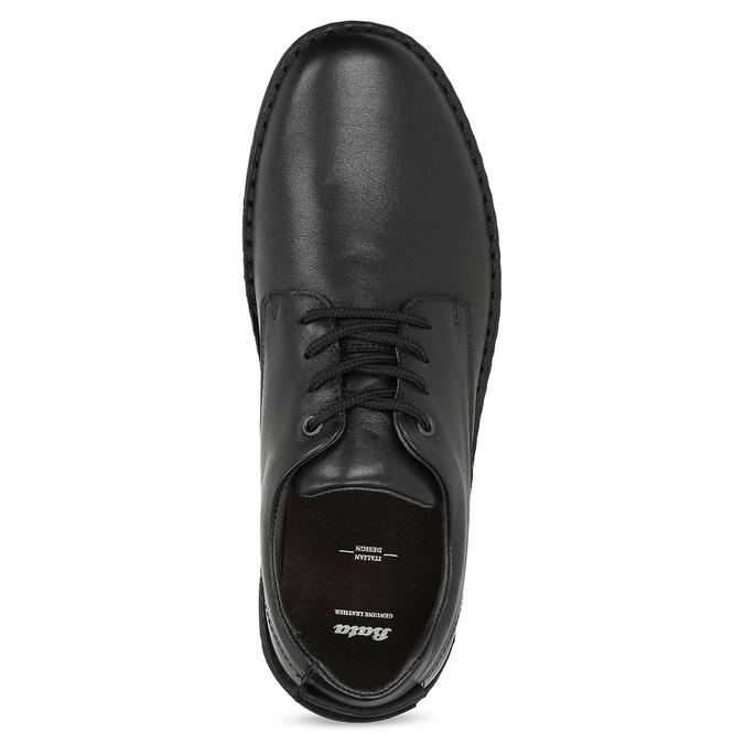 Pánske čierne kožené ležérne poltopánky bata, čierna, 824-6630 - 17