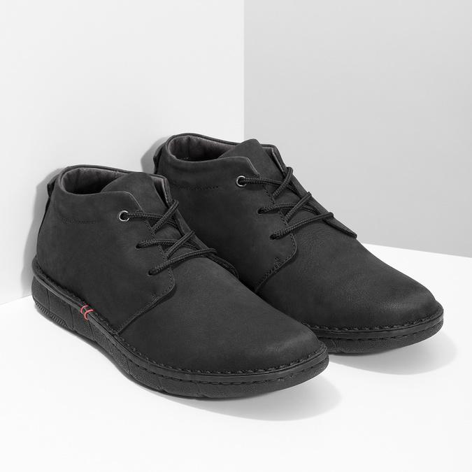 Pánska členková obuv z brúsenej kože bata, čierna, 846-6716 - 26