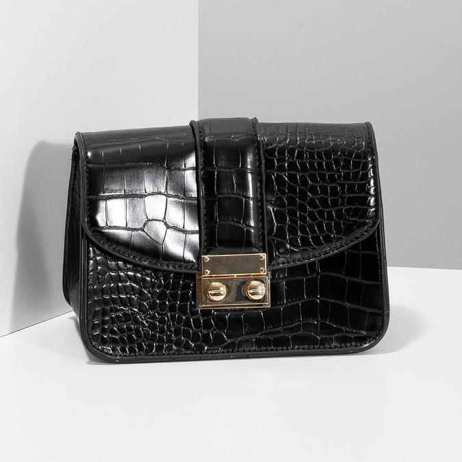 Čierna Crossbody kabelka so štruktúrou bata, čierna, 961-6869 - 17