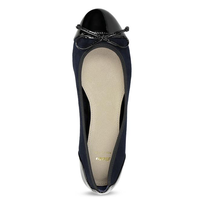 Tmavomodré dámske baleríny s mašličkou bata, modrá, 529-9640 - 17