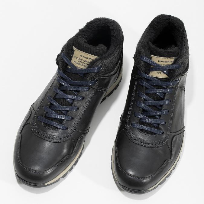 Pánske kožené tenisky so zateplením bata, čierna, 846-6646 - 16