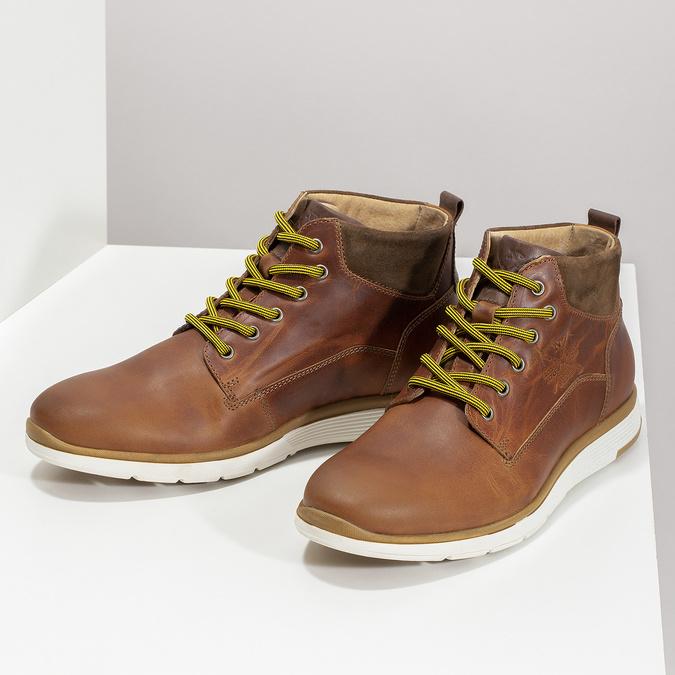 Hnedá kožená pánska členková obuv bata, hnedá, 846-3645 - 16