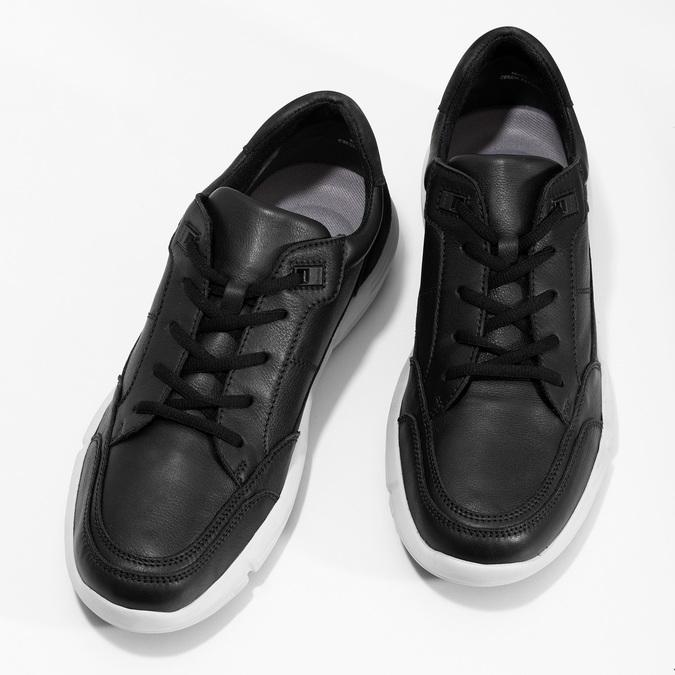 Čierne pánske tenisky s prešitím bata-light, čierna, 844-6647 - 16