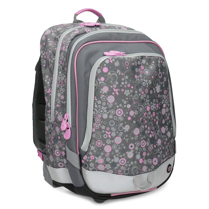 Šedá školská aktovka s ružovými detailami bagmaster, šedá, 969-2716 - 13