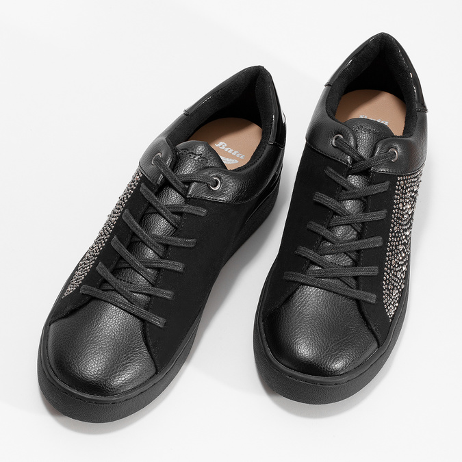 Čierne dámske tenisky s kamienkami bata-light, čierna, 549-6611 - 16