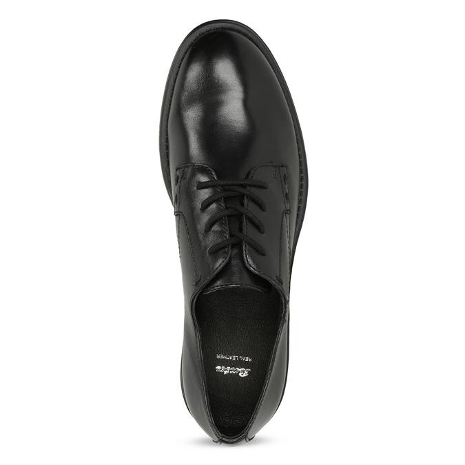 Čierne dámske kožené poltopánky bata, čierna, 524-6666 - 17