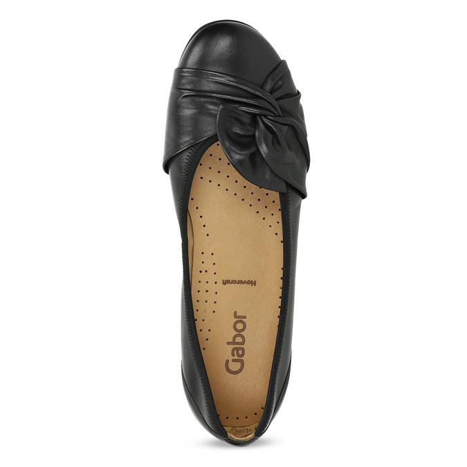 Čierne kožené dámske baleríny gabor, čierna, 524-6048 - 17