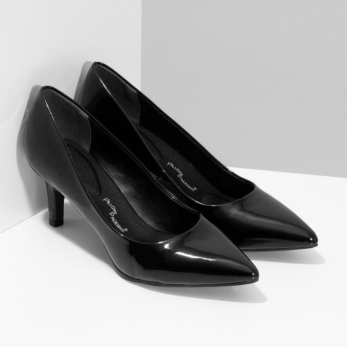 Čierne lodičky do špičky lesklé pillow-padding, čierna, 621-6648 - 26