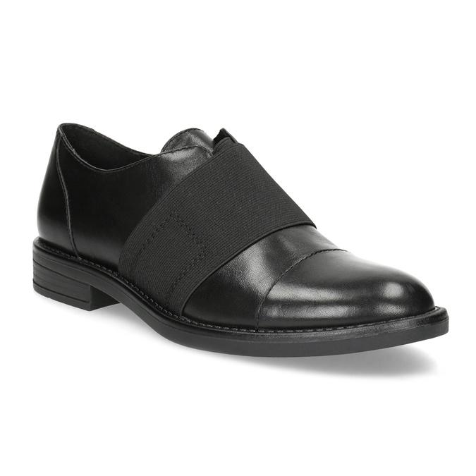 Kožené dámske poltopány s elastickým pruhom bata, čierna, 514-6602 - 13