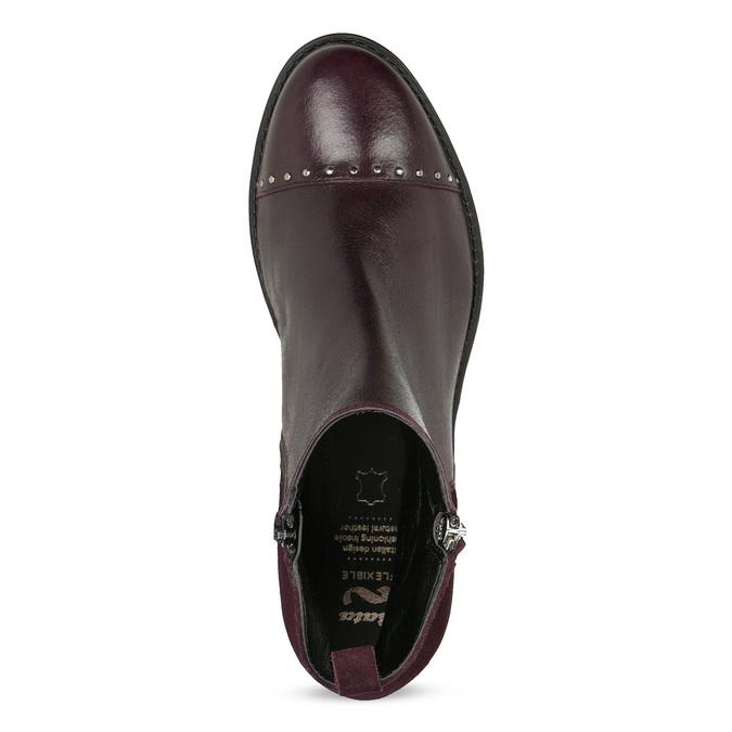 Kožená členková obuv so strapcami flexible, červená, 596-5696 - 17