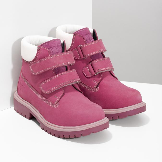 Ružová kožená detská členková obuv weinbrenner, ružová, 226-5201 - 26