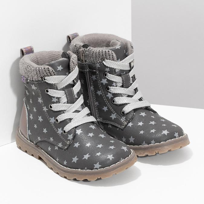 Šedá členková detská obuv s hviezdičkami mini-b, šedá, 221-2610 - 26