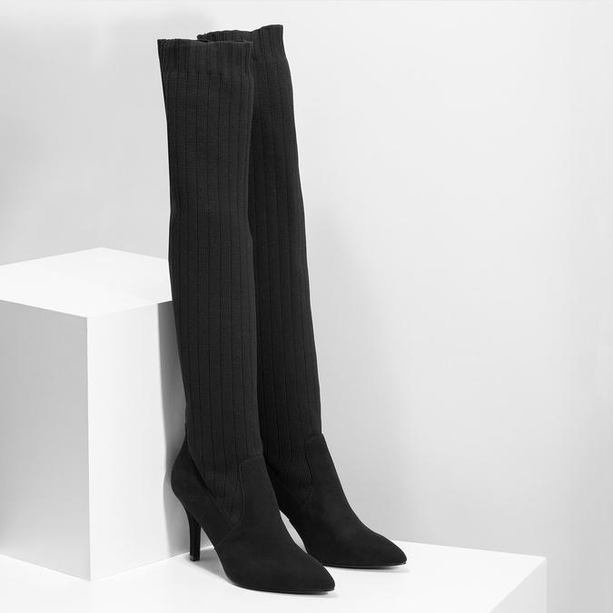 Čierne ponožkové čižmy na ihličkovom podpätku bata, čierna, 799-6639 - 26