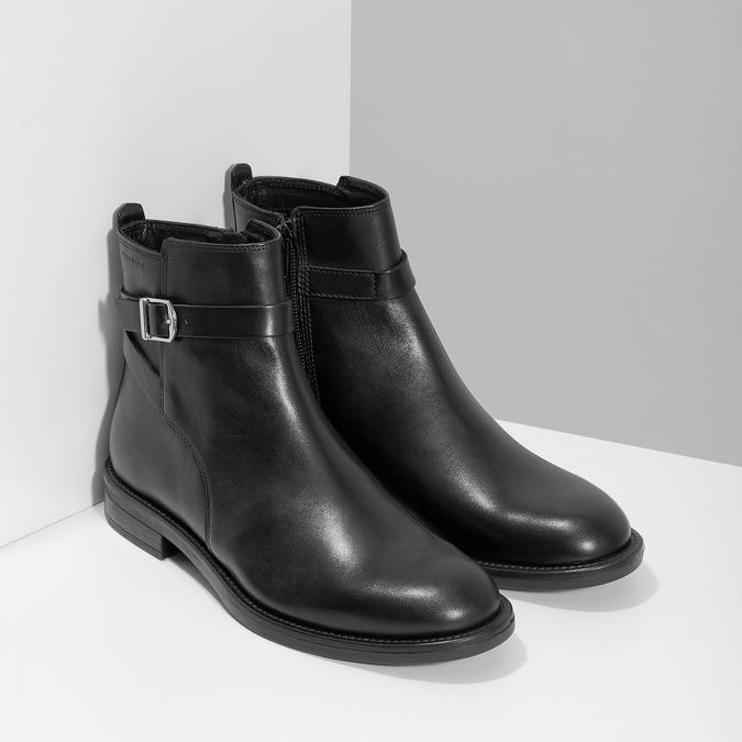 Kožená dámska členková obuv s prackou vagabond, čierna, 514-6140 - 26